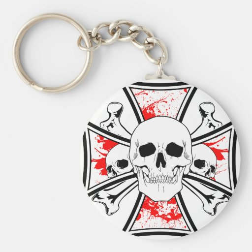 Iron Cross with Skulls and Cross Bones Basic Round Button Keychain
