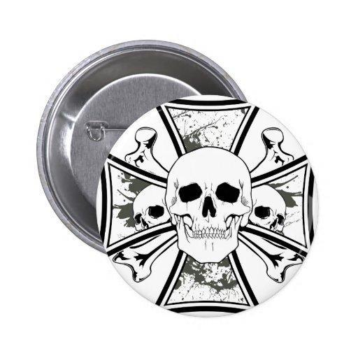 Iron Cross with Skulls and Cross Bones Pinback Buttons