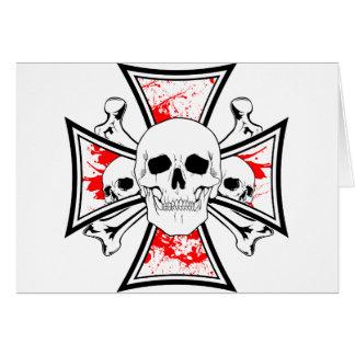 Iron Cross with Skulls and Cross Bones Card