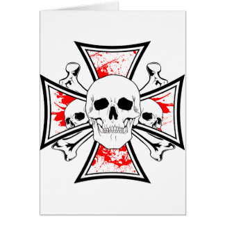 Iron Cross with Skulls and Cross Bones Card