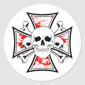 Iron Cross with Skulls and Cross Bones Classic Round Sticker