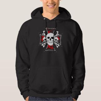 Iron Cross with Skulls and Cross Bones Hoodie