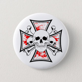 Iron Cross with Skulls and Cross Bones Pinback Button