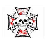 Iron Cross with Skulls and Cross Bones Post Card
