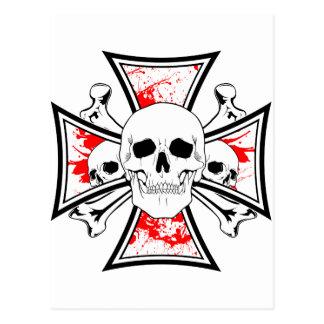 Iron Cross with Skulls and Cross Bones Postcard