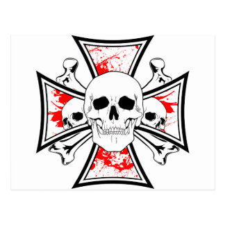 Iron Cross with Skulls and Cross Bones Postcard