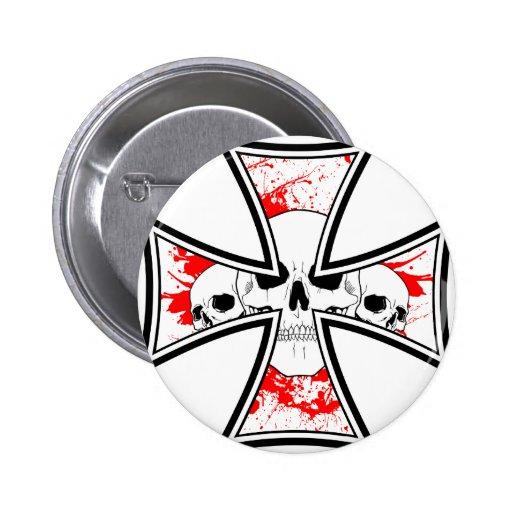 Iron Cross with Skulls Button