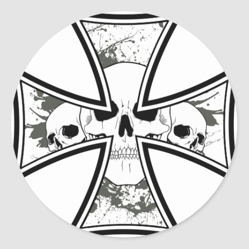 Iron Cross with Skulls Classic Round Sticker