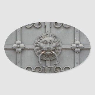 Iron Door with Lion Oval Sticker
