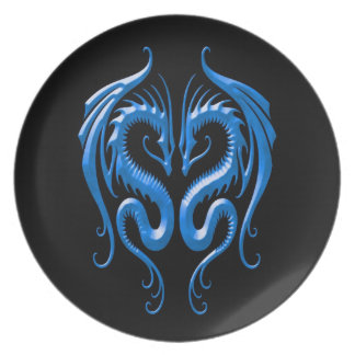 Iron Dragons, blue and black Party Plates