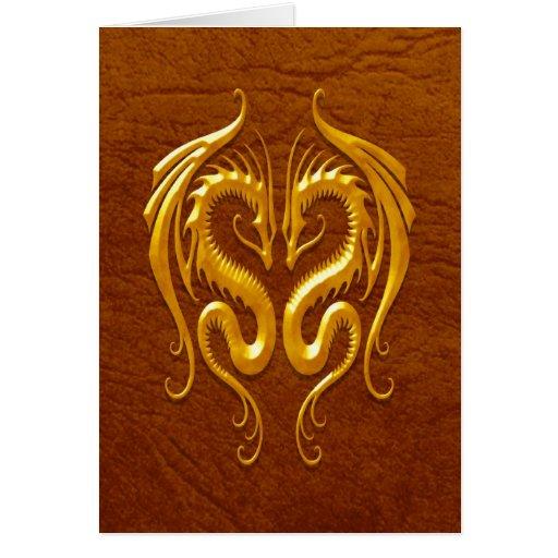 Iron Dragons, brown Greeting Card