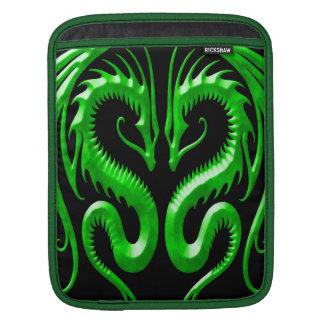 Iron Dragons, green and black iPad Sleeve