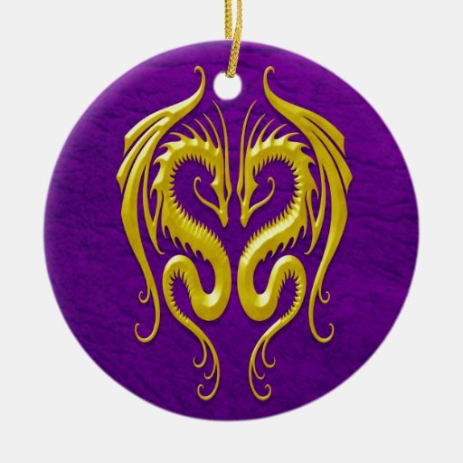 Iron Dragons, yellow and purple Ceramic Ornament