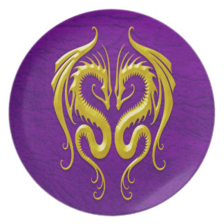 Iron Dragons, yellow and purple Dinner Plate