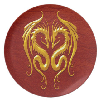 Iron Dragons, yellow and red Dinner Plates
