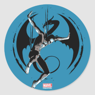 Iron Fist Dragon Landing Classic Round Sticker