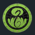"Iron Fist Logo Dartboard<br><div class=""desc"">Check out the Iron Fist dragon logo in black on green.</div>"