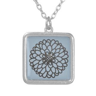 Iron Flower Square Pendant Necklace