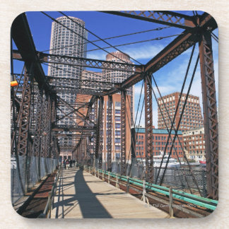 Iron footbridge with Boston Financial district Beverage Coaster