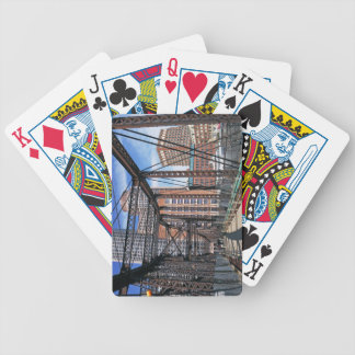 Iron footbridge with Boston Financial district Bicycle Playing Cards