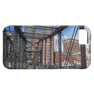 Iron footbridge with Boston Financial district iPhone 5 Covers