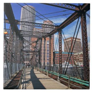 Iron footbridge with Boston Financial district Ceramic Tile