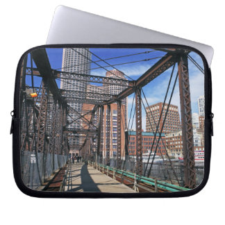 Iron footbridge with Boston Financial district Computer Sleeve