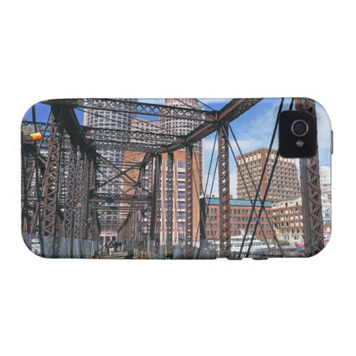 Iron footbridge with Boston Financial district iPhone 4 Cover