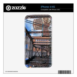 Iron footbridge with Boston Financial district iPhone 4 Skins