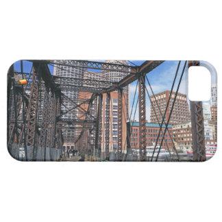Iron footbridge with Boston Financial district iPhone 5 Case