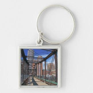 Iron footbridge with Boston Financial district Key Chain