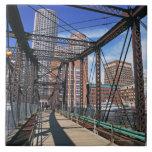 Iron footbridge with Boston Financial district Large Square Tile