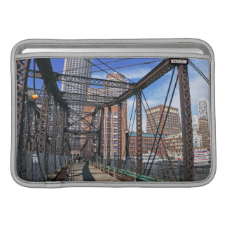 Iron footbridge with Boston Financial district MacBook Air Sleeve