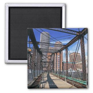 Iron footbridge with Boston Financial district Magnet