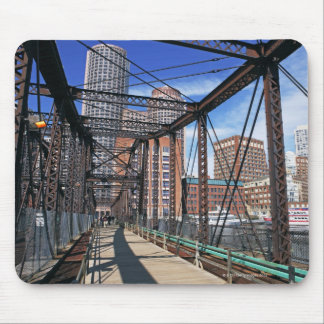 Iron footbridge with Boston Financial district Mouse Pad