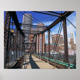 Iron footbridge with Boston Financial district Posters