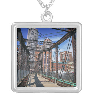 Iron footbridge with Boston Financial district Silver Plated Necklace