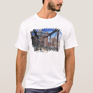 Iron footbridge with Boston Financial district T-Shirt
