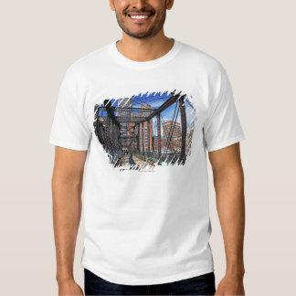 Iron footbridge with Boston Financial district Tee Shirt