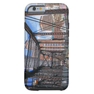 Iron footbridge with Boston Financial district Tough iPhone 6 Case