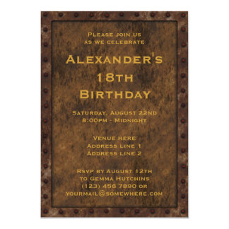 Iron Framed Effect Boys Birthday Double Sided Invitation