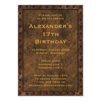 Iron Framed Effect Boys Birthday Double Sided Invitations