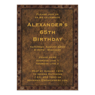 Iron Framed Effect Boys Birthday Double Sided Personalized Announcement