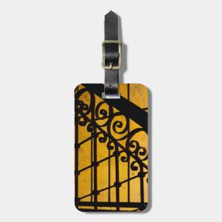 Iron gate pattern in yellow, Cuba Luggage Tag