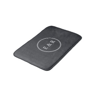 honor_and_obey Iron Grille Grey with White Borders and Text Bath Mat