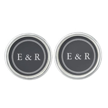 Beach Themed Iron Grille Grey with White Borders and Text Cufflinks