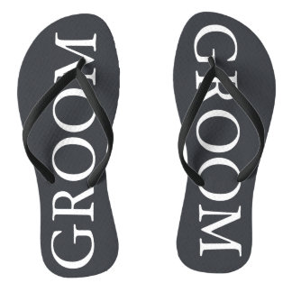 Iron Grille Grey with White Borders and Text Flip Flops