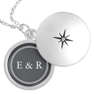 Iron Grille Grey with White Borders and Text Locket Necklace