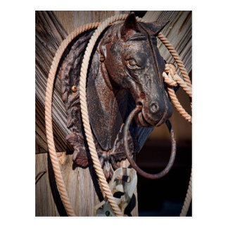 Iron Horse Hitching Post and Rope Postcard