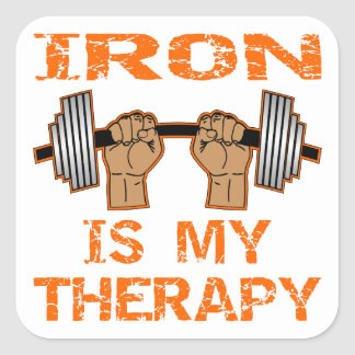 Iron Is My Therapy - Weightlifting Square Sticker